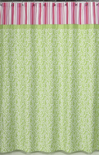 Olivia Pink and Green Kids Bathroom Fabric Bath Shower Curtain - Click to enlarge