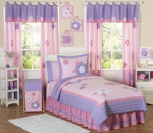 Pink and purple flower childrens bedding 4pc twin set - Pink and purple comforter set ...