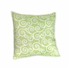 Olivia Green and White Scroll Print Decorative Accent Throw Pillow