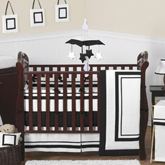 White and Black Modern Hotel Baby Bedding - 9pc Crib Set by Sweet Jojo Designs