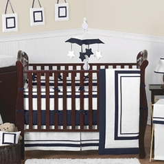 White and Navy Modern Hotel Baby Bedding - 9pc Crib Set by Sweet Jojo Designs