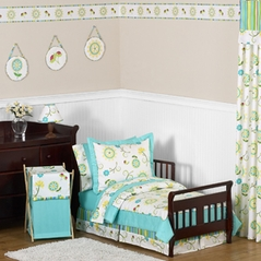 Turquoise and Lime Layla Girls Toddler Bedding - 5pc Set