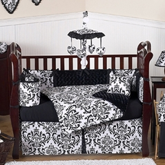 Black and White Isabella Girls Baby Bedding - 9 pc Crib Set
