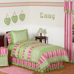 Olivia Pink and Green Girls Children & Teen Bedding - 3pc Full / Queen Set by Sweet Jojo Designs