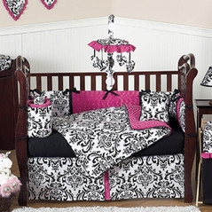 Hot Pink, Black and White Isabella Girls Baby Bedding - 9 pc Crib Set