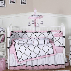 Pink, Black and White Princess Baby Bedding - 9 pc Crib Set