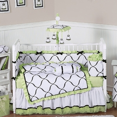 Green, Black and White Princess Baby Bedding - 9 pc Crib Set