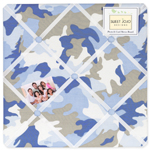 Blue and Khaki Camo Fabric Memory/Memo Photo Bulletin Board
