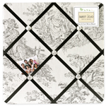 Black French Toile Fabric Memory/Memo Photo Bulletin Board