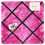 Pink Groovy Peace Out Tie Dye Fabric Memory/Memo Photo Bulletin Board