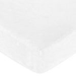Fitted Crib Sheet for White Minky Dot Baby/Toddler Bedding by Sweet Jojo Designs - White Microsuede