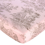 Pink Brown Toile Fitted Crib Sheet for Baby and Toddler Bedding Sets by Sweet Jojo Designs - Toile Print
