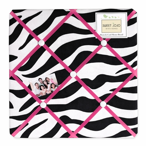 Funky Zebra Fabric Memory/Memo Photo Bulletin Board - Click to enlarge