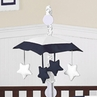 White and Navy Modern Hotel Musical Baby Crib Mobile by Sweet Jojo Designs