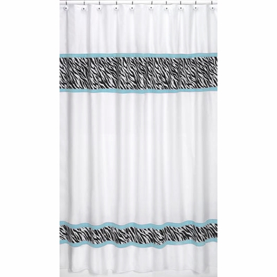 Zebra Turquoise Shower Curtain