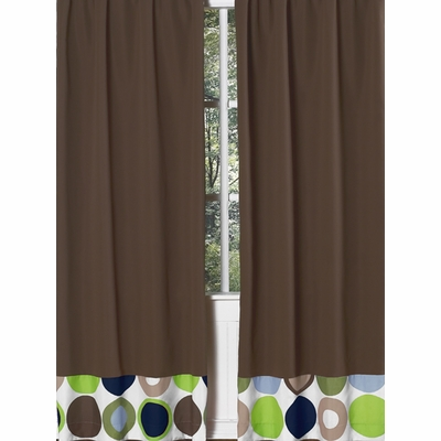 Designer Dot Chocolate Brown Window Panels - Set of 2