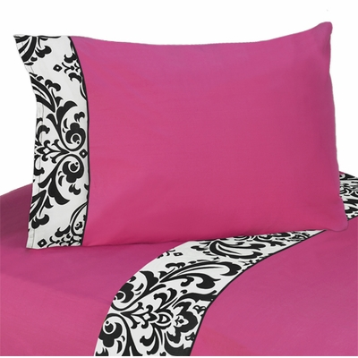 Isabella Pink, Black and White Collection Twin Sheet Set