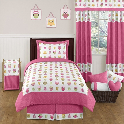 Owl Pink Twin Bedding Collection
