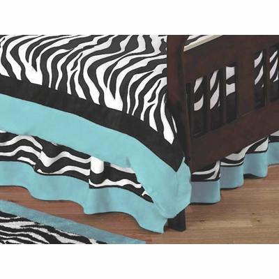 Zebra Turquoise Toddler Bed Skirt