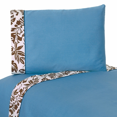 Surf Blue and Brown Queen Sheet Set