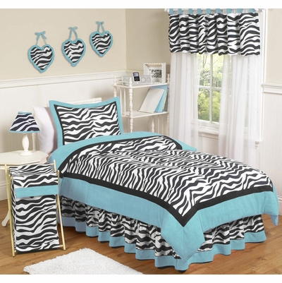Zebra Turquoise Twin Bedding Collection