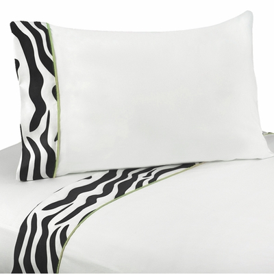 Zebra Lime Queen Sheet Set