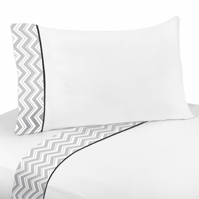Zig Zag Black and Gray Queen Sheet Set