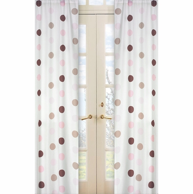 Mod Dots Pink Window Panels - Set of 2
