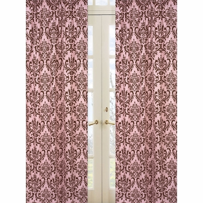 Nicole Damask Print Window Panels - Set of 2
