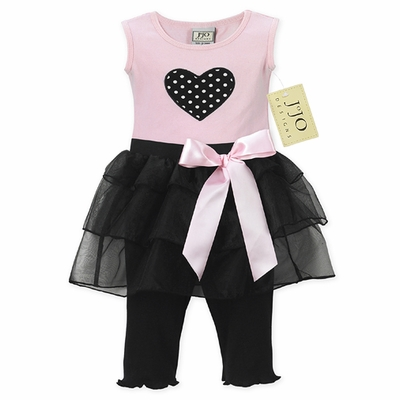 2pc Pink and Black Heart Tutu Baby Girl Leggings Outfit
