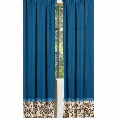 Surf Blue and Brown Window Panels - Set of 2