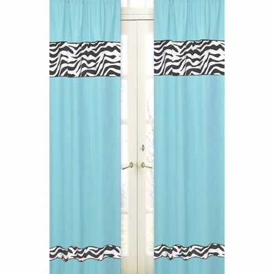 Zebra Turquoise Window Panels - Set of 2