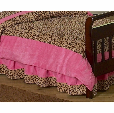 Cheetah Pink Toddler Bed Skirt