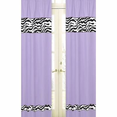 Zebra Purple Window Panels - Set of 2