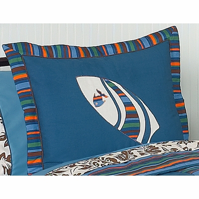 Surf Blue and Brown Pillow Sham