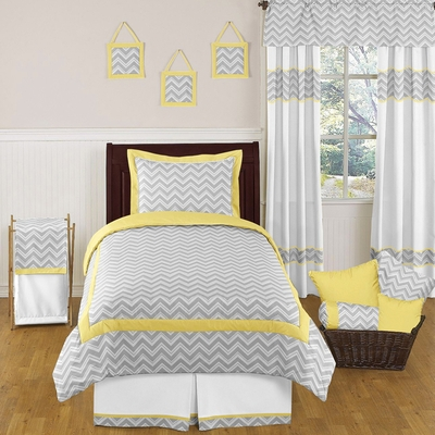 Zig Zag Yellow and Gray Twin Bedding Collection