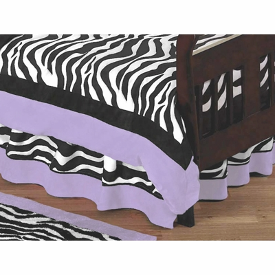 Zebra Purple Toddler Bed Skirt