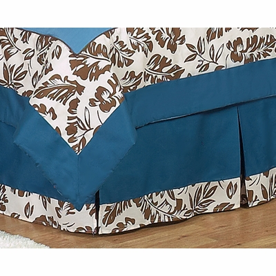 Surf Blue and Brown Queen Bed Skirt