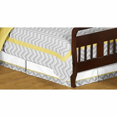 Zig Zag Yellow and Gray Toddler Bed Skirt