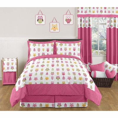 Owl Pink Full/Queen Bedding Collection