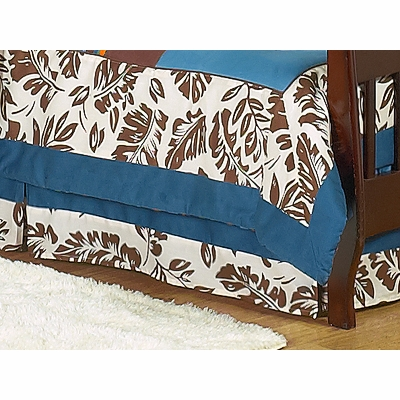 Surf Blue and Brown Toddler Bed Skirt