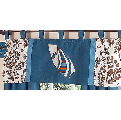 Surf Blue and Brown Window Valance