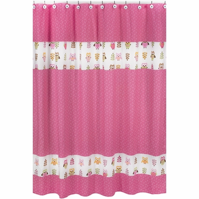 Owl Pink Shower Curtain