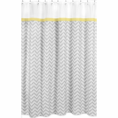 Zig Zag Yellow and Gray Shower Curtain