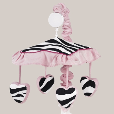 Zebra Pink Musical Mobile