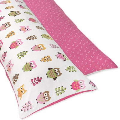 Owl Pink Collection Pink Full Length Body Pillow Cover