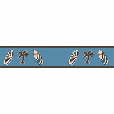 Surf Blue and Brown Wallpaper Border