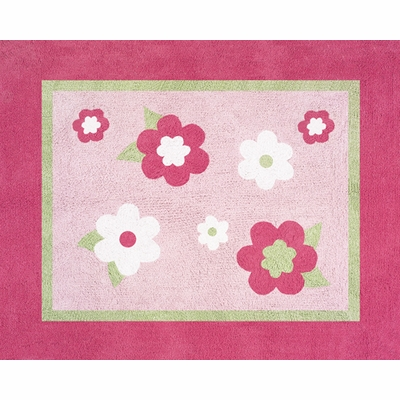 Flower Pink and Green Accent Floor Rug