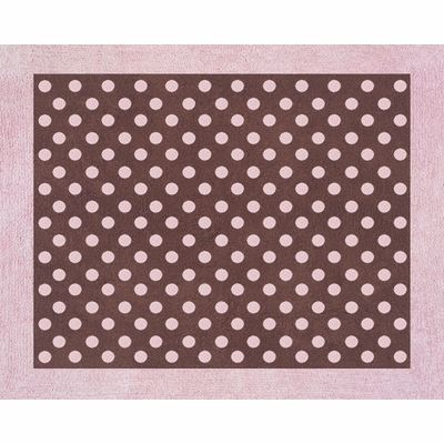 Pink Brown Toile Accent Floor Rug