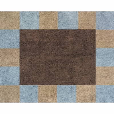 Soho Blue and Brown and Brown Accent Floor Rug